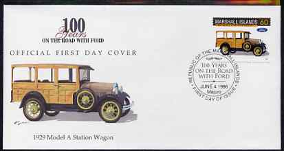 Marshall Islands 1996 Centenary of Ford Cars - 1929 Model A Station Wagon on illustrated cover with special first day cancel, SG 716