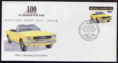 Marshall Islands 1996 Centenary of Ford Cars - 1964 Mustang Convertible on illustrated cover with special first day cancel, SG 718