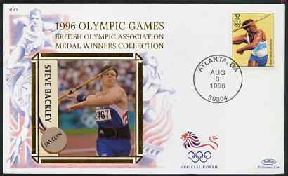 United States 1996 Atlanta Olympics 32c Decathlon on illustrated Benham silk cover (British Olympic Association showing Steve Backley) with special Atlanta cancel, SG 3184