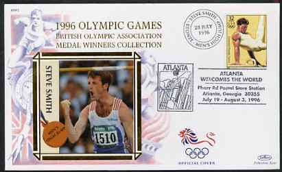 United States 1996 Atlanta Olympics 32c Men's Gymnastics on illustrated Benham silk cover (British Olympic Association showing Steve Smith) with special Atlanta cancel, SG 3201