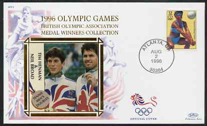 United States 1996 Atlanta Olympics 32c Beach Volleyball on illustrated Benham silk cover (British Olympic Association showing Tim Henman & Neil Broad) with special Atlanta cancel