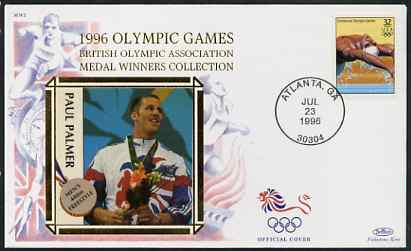United States 1996 Atlanta Olympics 32c Swimming on illustrated Benham silk cover (British Olympic Association showing Paul Palmer) with special Atlanta cancel, stamps on , stamps on  stamps on sport, stamps on  stamps on olympics, stamps on  stamps on swimming
