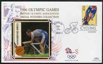 United States 1996 Atlanta Olympics 32c Men's Cycling on illustrated Benham silk cover (British Olympic Association showing Chris Boardman) with special Cycling cancel, SG 3188