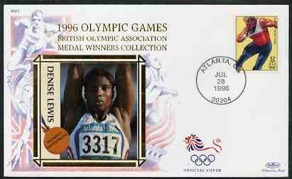 United States 1996 Atlanta Olympics 32c Shot Putt on illustrated Benham silk cover (British Olympic Association showing Denise Lewis) with special Atlanta cancel, SG 3192