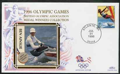 United States 1996 Atlanta Olympics 32c Sailboarding on illustrated Benham silk cover (British Olympic Association showing Ben Ainslie) with special Atlanta cancel