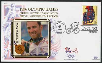 United States 1996 Atlanta Olympics 32c Show Jumping on illustrated Benham silk cover (British Olympic Association showing Max Sciandri) with special Cycling cancel, SG 3202