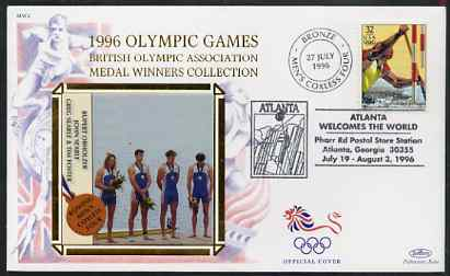 United States 1996 Atlanta Olympics 32c Canoeing on illustrated Benham silk cover (British Olympic Association showing Men's Coxless Four Team) with special Atlanta cancel, SG 3185