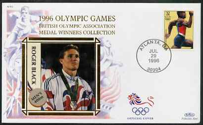 United States 1996 Atlanta Olympics 32c Men's Sprinting on illustrated Benham silk cover (British Olympic Association showing Roger Black) with special Atlanta cancel, SG 3196