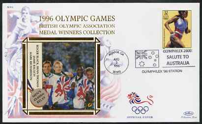 United States 1996 Atlanta Olympics 32c Women's Running on illustrated Benham silk cover (British Olympic Association showing Men's 4 x 400 Relay Team) with special Atlanta cancel, SG 3186