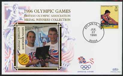 United States 1996 Atlanta Olympics 32c Men's Rowing on illustrated Benham silk cover (British Olympic Association showing Steven Redgrave & Matthew Pinsent) with special Atlanta cancel, SG 3195