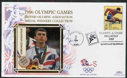 United States 1996 Atlanta Olympics 32c Men's Hurdling on illustrated Benham silk cover (British Olympic Association showing Jonathan Edwards) with special Atlanta cancel, SG 3199