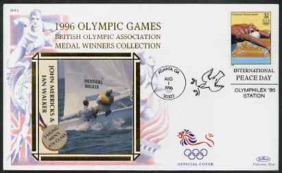 United States 1996 Atlanta Olympics 32c Swimming on illustrated Benham silk cover (British Olympic Association showing John Merricks & Ian Walker) with special Atlanta cancel