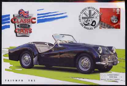 Great Britain 1996 Classic Sports Cars 20p Triumph TR3 on Mercury illustrated (Limited Edition) cover with special Beaulieu cancel, SG 1945