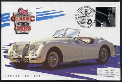 Great Britain 1996 Classic Sports Cars 43p Jaguar XK120 on Mercury illustrated (Limited Edition) cover with special Beaulieu cancel, SG 1948