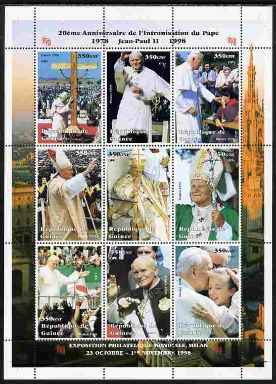Guinea - Conakry 1998 20th Anniversary of Election of Pope John Paul II #1 perf sheetlet containing 9 values unmounted mint