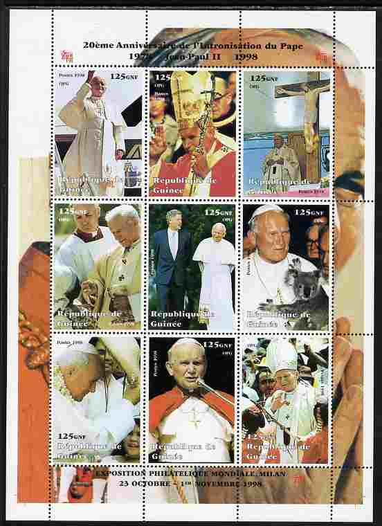 Guinea - Conakry 1998 20th Anniversary of Election of Pope John Paul II #2 perf sheetlet containing 9 values unmounted mint