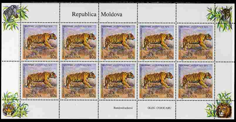 Moldova 2001 Chinese Zoo 40b Tiger perf sheetlet containing 10 values unmounted mint SG 398