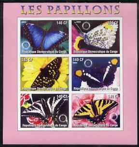 Congo 2003 Butterflies imperf sheetlet #02 (pink border) containing 6 values each with Rotary Logo, unmounted mint