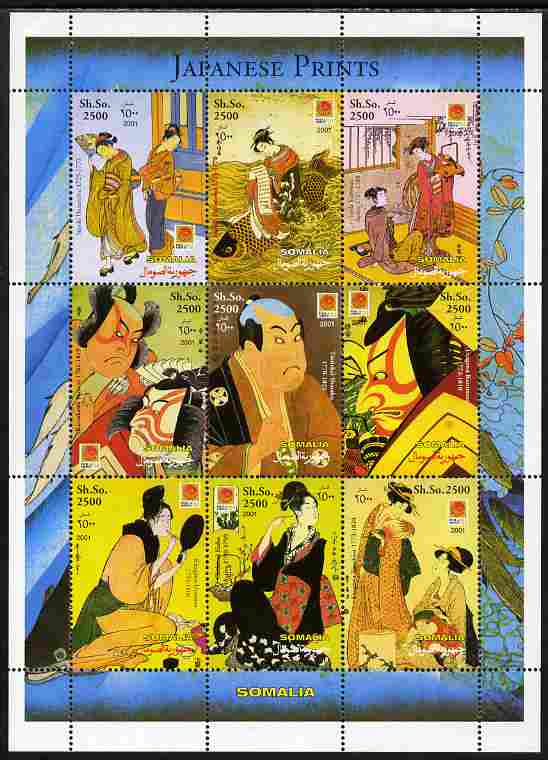 Somalia 2001 Japanese Prints perf sheetlet containing 9 values each with Phila Nippon imprint unmounted mint