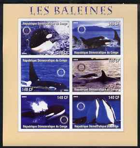 Congo 2003 Whales imperf sheetlet #01 (pink border) containing 6 values each with Rotary Logo, unmounted mint