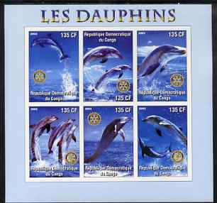 Congo 2003 Dolphins imperf sheetlet #01 (vert stamps) containing 6 values each with Rotary Logo, unmounted mint