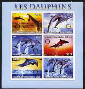 Congo 2003 Dolphins imperf sheetlet #02 (horiz stamps) containing 6 values each with Rotary Logo, unmounted mint, stamps on rotary, stamps on dolphins, stamps on marine life
