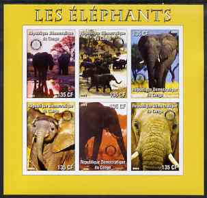 Congo 2003 Elephants imperf sheetlet #02 (yellow border) containing 6 x 135 F values each with Rotary Logo, unmounted mint