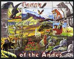 Kyrgyzstan 2004 Fauna of the World - Andes perf sheetlet containing 6 values unmounted mint