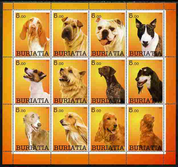 Buriatia Republic 2001 Dogs #2 (various breeds) perf sheetlet containing complete set of 12 values, unmounted mint