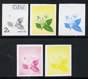 Nauru 1973 Flower (Kauwe lud) 2c definitive (SG 100) set of 5 unmounted mint IMPERF progressive proofs on gummed paper (blue, magenta, yelow, black and blue & yellow)