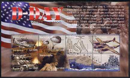 Sierra Leone 2004 60th Anniversary of D-day Landings perf m/sheet #2 containing 8 x 1000L values unmounted mint, SG MS 4267b