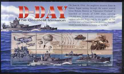 Sierra Leone 2004 60th Anniversary of D-day Landings perf m/sheet #4 containing 8 x 1000L values unmounted mint, SG MS 4267d