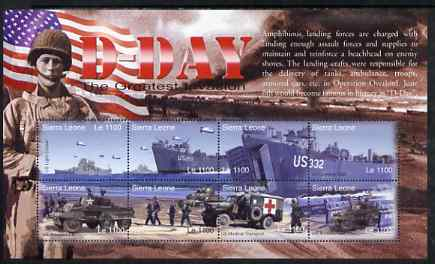 Sierra Leone 2004 60th Anniversary of D-day Landings perf m/sheet #5 containing 8 x 1100L values unmounted mint, SG MS 4267e