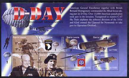Sierra Leone 2004 60th Anniversary of D-day Landings perf m/sheet #6 containing 8 x 1100L values unmounted mint, SG MS 4267f