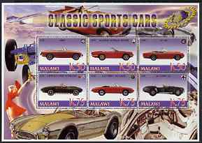Malawi 2006 Classic Sports Cars #1 perf sheetlet containing 6 values unmounted mint