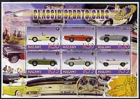 Malawi 2006 Classic Sports Cars #2 perf sheetlet containing 6 values unmounted mint