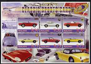 Malawi 2006 Classic Sports Cars #3 perf sheetlet containing 6 values unmounted mint