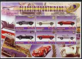 Malawi 2006 Classic Sports Cars #4 perf sheetlet containing 6 values unmounted mint