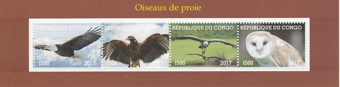 Congo 2017 Birds of Prey #1 perf sheetlet containing 4 values unmounted mint. Note this item is privately produced and is offered purely on its thematic appeal