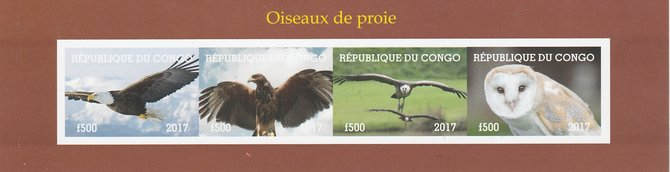 Congo 2017 Birds of Prey #1 imperf sheetlet containing 4 values unmounted mint. Note this item is privately produced and is offered purely on its thematic appeal