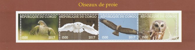 Congo 2017 Birds of Prey #2 perf sheetlet containing 4 values unmounted mint. Note this item is privately produced and is offered purely on its thematic appeal