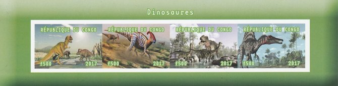 Congo 2017 Dinosaurs #1 imperf sheetlet containing 4 values unmounted mint. Note this item is privately produced and is offered purely on its thematic appeal