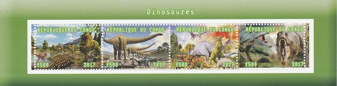 Congo 2017 Dinosaurs #2 perf sheetlet containing 4 values unmounted mint. Note this item is privately produced and is offered purely on its thematic appeal