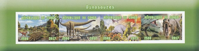 Congo 2017 Dinosaurs #2 imperf sheetlet containing 4 values unmounted mint. Note this item is privately produced and is offered purely on its thematic appeal