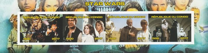 Congo 2017 Star Wars #1 imperf sheetlet containing 4 values unmounted mint. Note this item is privately produced and is offered purely on its thematic appeal
