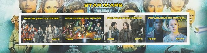 Congo 2017 Star Wars #2 imperf sheetlet containing 4 values unmounted mint. Note this item is privately produced and is offered purely on its thematic appeal
