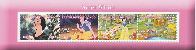 Congo 2017 Snow White perf sheetlet containing 4 values unmounted mint. Note this item is privately produced and is offered purely on its thematic appeal, stamps on snow white, stamps on disney, stamps on films, stamps on cinema, stamps on movies, stamps on