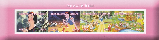 Congo 2017 Snow White imperf sheetlet containing 4 values unmounted mint. Note this item is privately produced and is offered purely on its thematic appeal