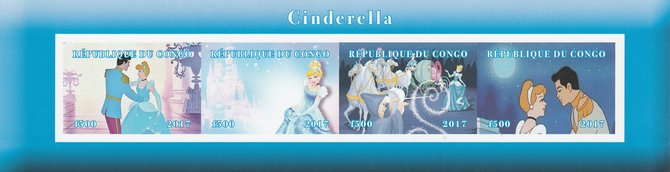 Congo 2017 Cinderella imperf sheetlet containing 4 values unmounted mint. Note this item is privately produced and is offered purely on its thematic appeal, stamps on cinderella, stamps on disney, stamps on films, stamps on cinema, stamps on movies, stamps on