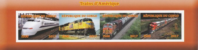 Congo 2017 Trains of America imperf sheetlet containing 4 values unmounted mint. Note this item is privately produced and is offered purely on its thematic appeal